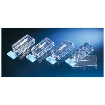 Cámara de cultivo sobre portaobjetos Nunc, Lab-Tek II CC2, con tapa, cubreobjetos de vidrio, estéril, PS, 2 pocillos - 8 unidades