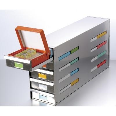 Rack para Freezer con Cajones Deslizantes Biologix, con manijas pull-out, acero inoxidable, configuración 4 x 6