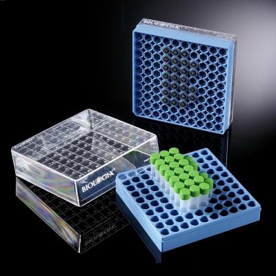 Combo CryoKING Biologix, crioviales, código de barras 2D, PP, sin O-ring en criocajas - 12 criocajas de 100 crioviales