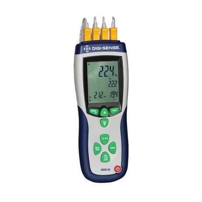 Registrador de temperatura Digi-Sense, 4 entradas, termocupla Tipo K, calibración con trazablidad NIST