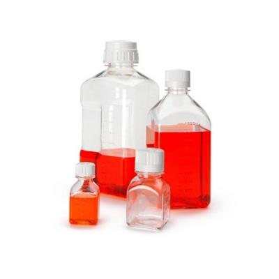 Botella Nalgene, cuadrada, estéril para medio, PETG