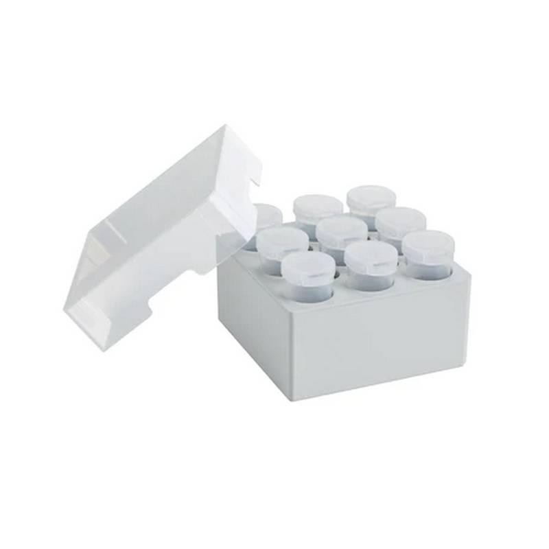 Criocaja Eppendorf, para 9 tubos de 25ml, altura 88.9 mm, polipropileno, hasta -86 C, autoclavable, con tapa y código alfanumérico - 2 unidades