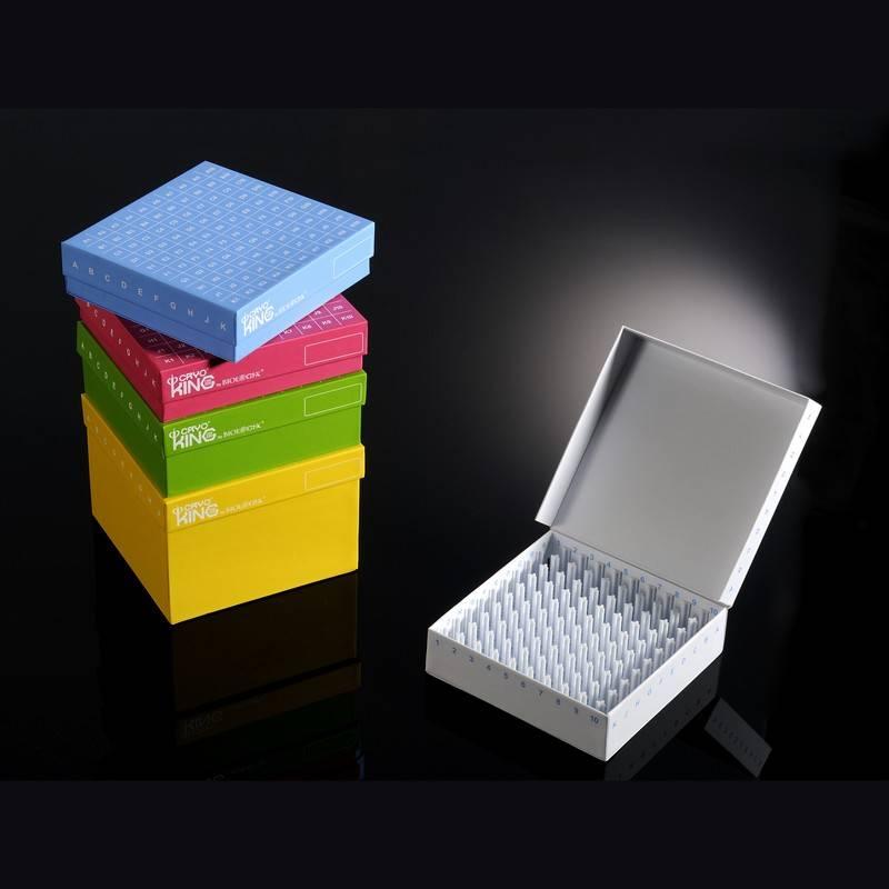 Criocaja CryoKING Biologix, cartón, tapa abatible, línea ID-Color