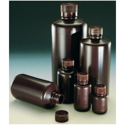 Botella Nalgene de boca estrecha, ámbar, polietileno de alta densidad HDPE